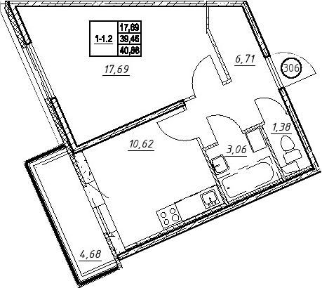 1-к.кв, 44.13 м²
