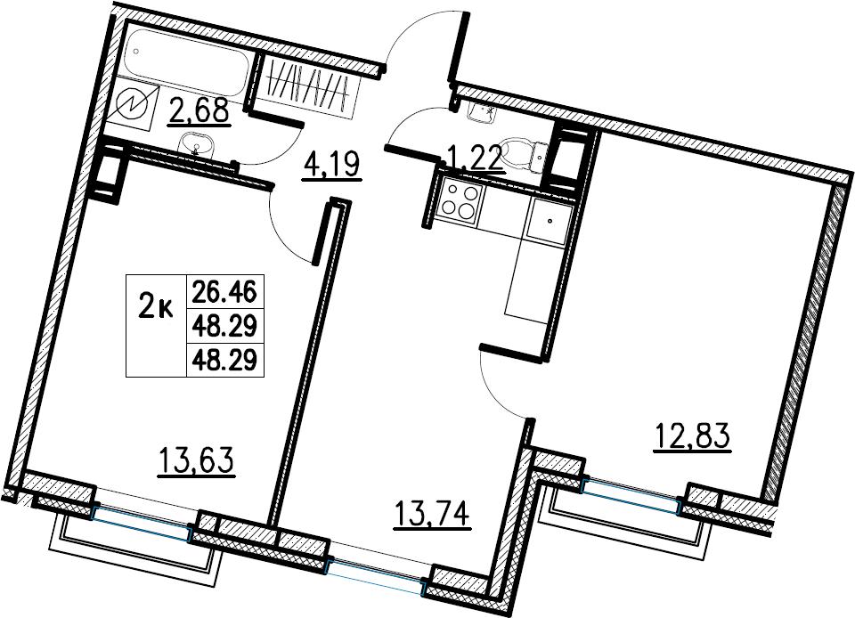 2-комнатная, 48.29 м²– 2