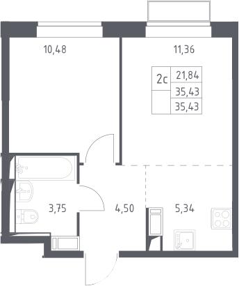 2Е-комнатная, 35.43 м²– 2