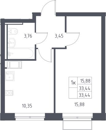 1-к.кв, 33.44 м²