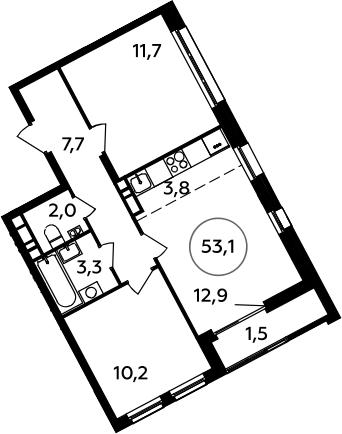 3Е-к.кв, 53.1 м², 8 этаж