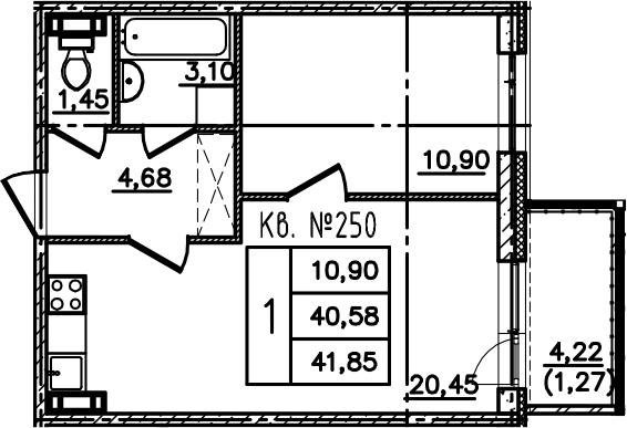 2-к.кв (евро), 44.81 м²