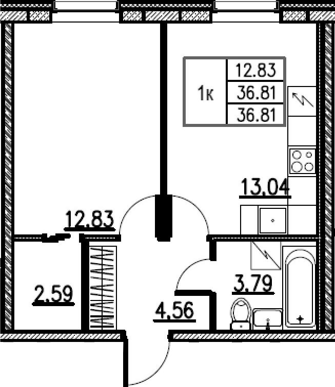1-комнатная, 36.81 м²– 2