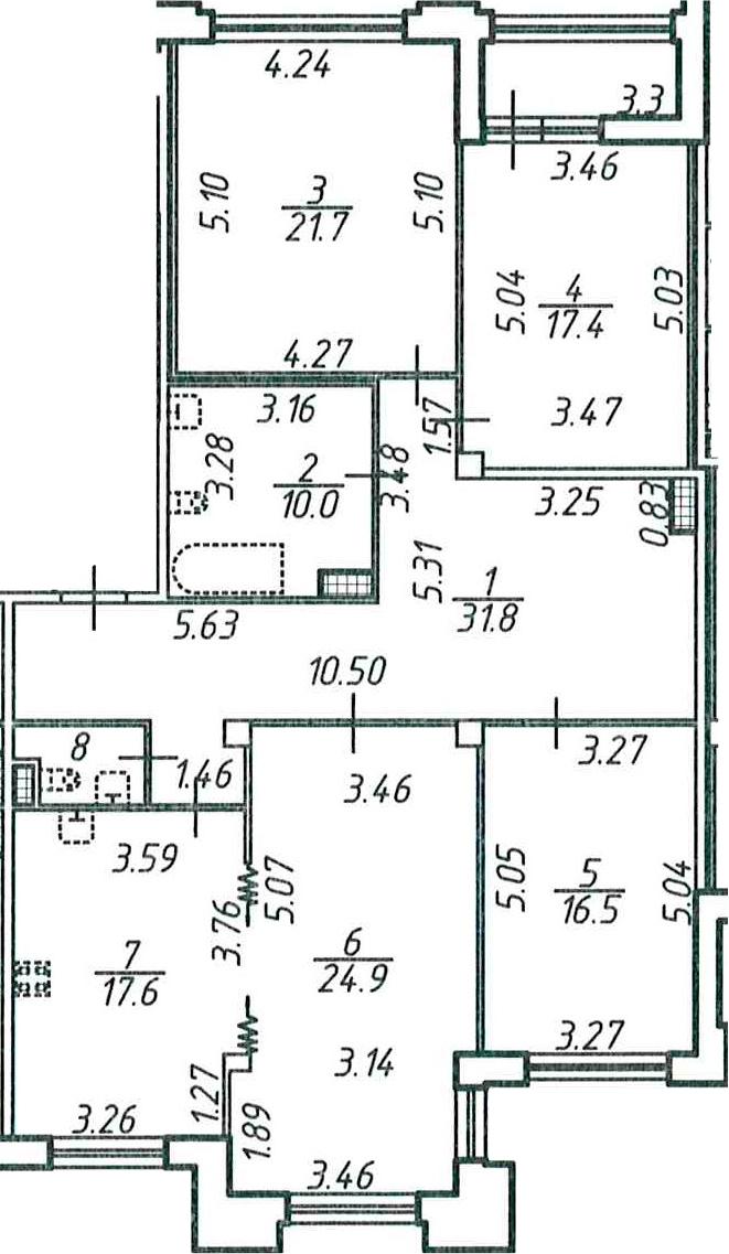 4-комнатная, 143.75 м²– 2
