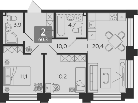 3Е-комнатная, 60.3 м²– 2