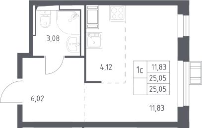Студия, 25.05 м², 17 этаж