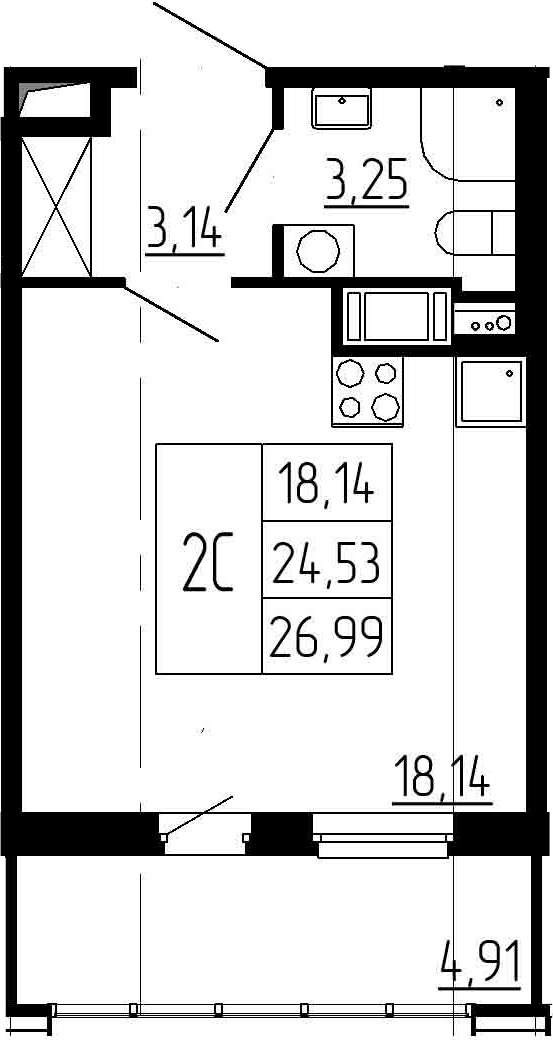 Студия, 24.53 м²