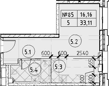 Студия, 33.11 м²