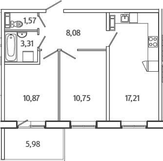 3Е-к.кв, 53.58 м²