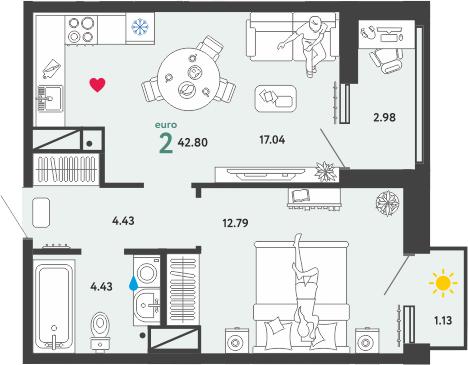 2Е-к.кв, 42.8 м², 7 этаж