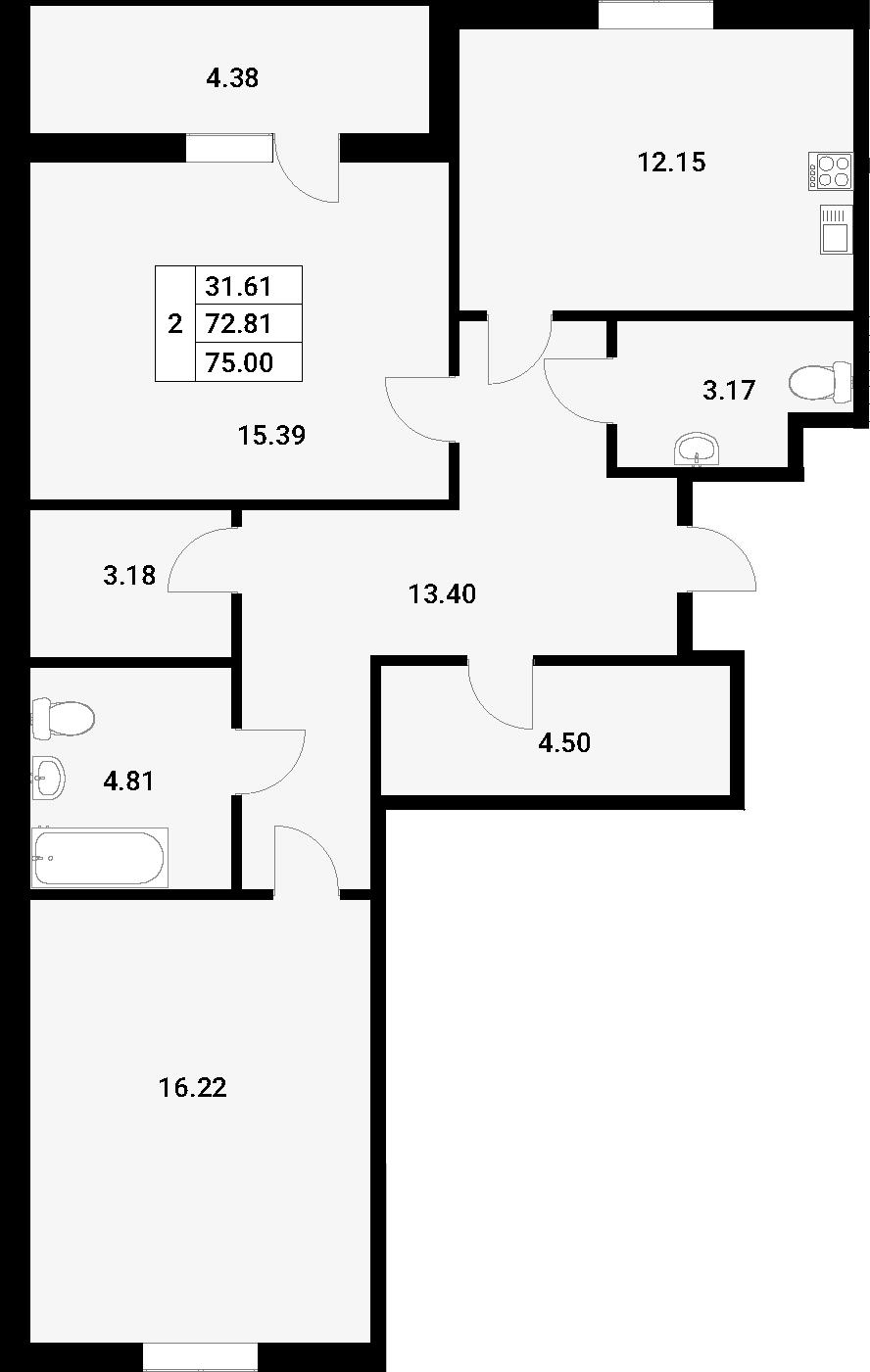 2-к.кв, 78.29 м²
