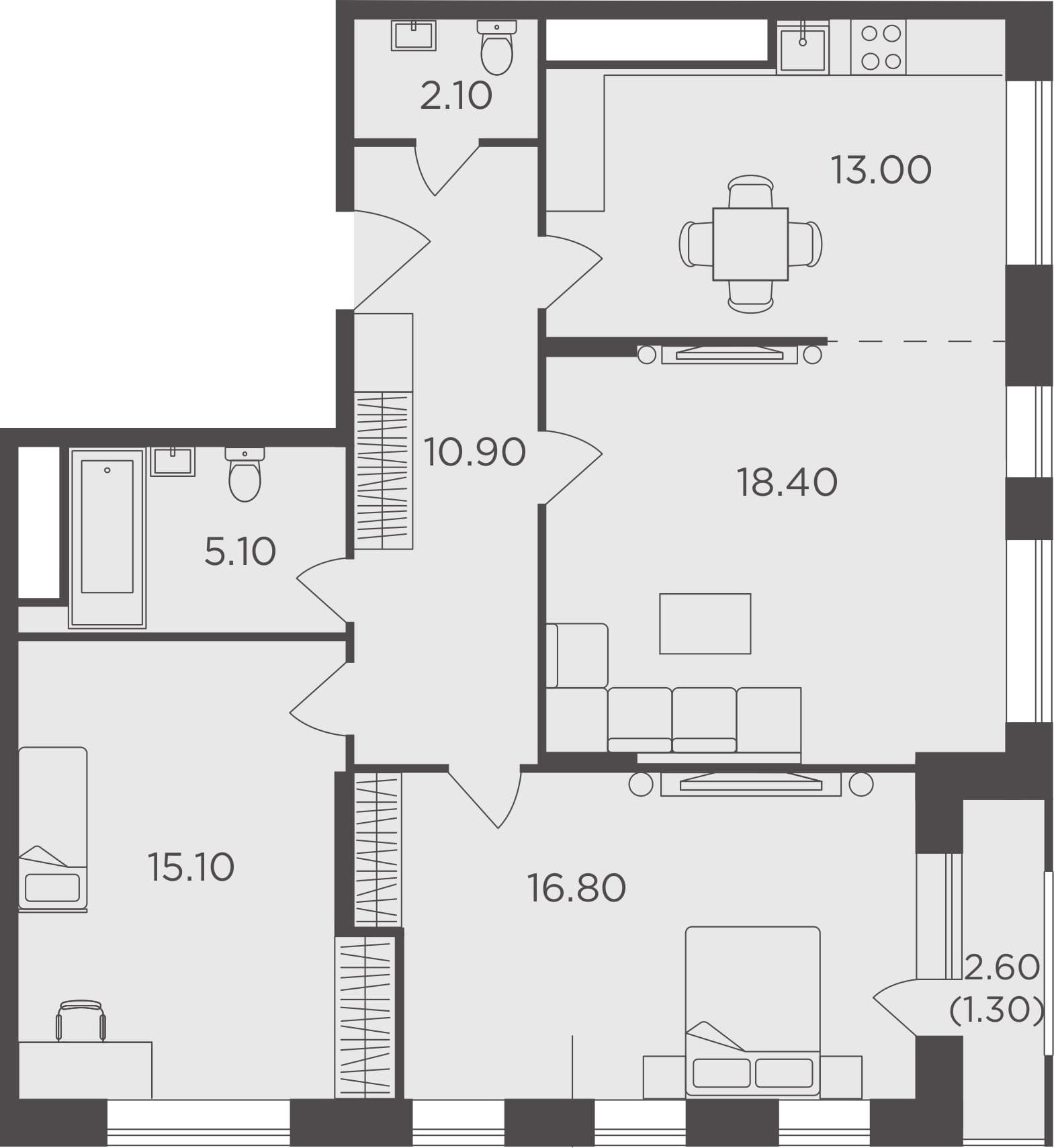 3-к.кв, 82.7 м²