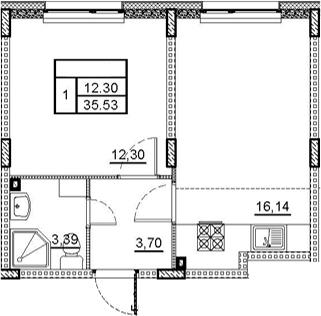 1-к.кв, 35.53 м²