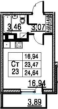 Студия, 24.64 м²
