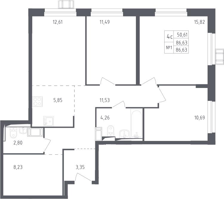 4Е-к.кв, 86.63 м², 17 этаж