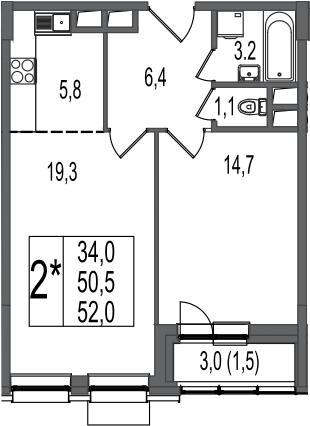 2Е-комнатная, 52 м²– 2