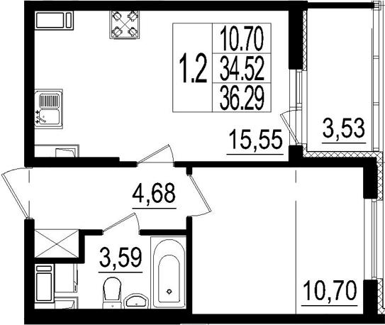 2Е-комнатная, 34.52 м²– 2