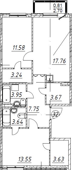 3Е-к.кв, 69.58 м², от 2 этажа