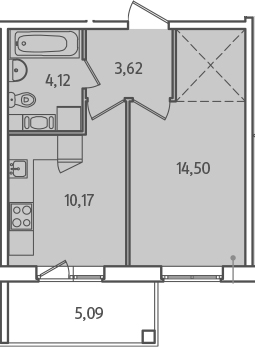 1-к.кв, 34.96 м², от 2 этажа