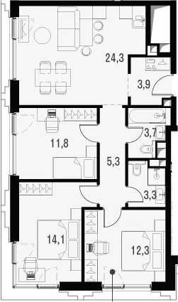 4Е-к.кв, 78.7 м², от 17 этажа