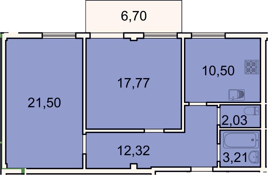 2-к.кв, 69.3 м², 2 этаж