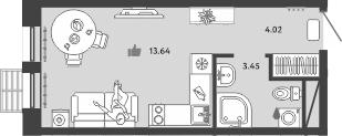 Студия, 21.11 м²