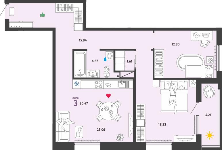 3Е-к.кв, 80.47 м²