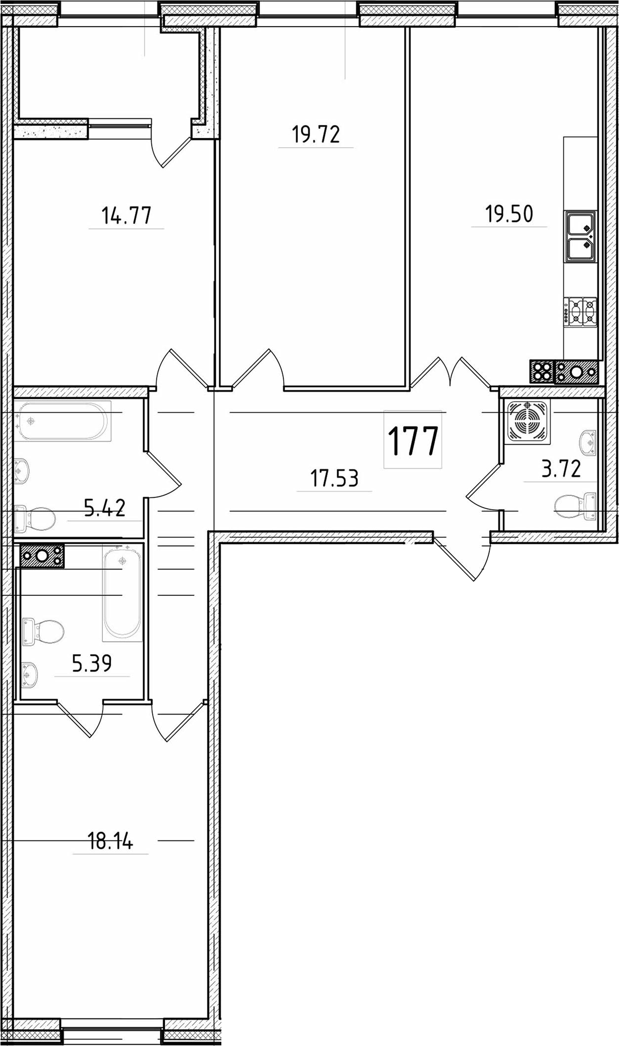4Е-к.кв, 106.64 м², 5 этаж