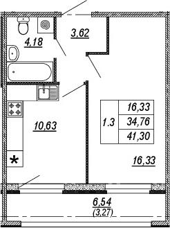 1-к.кв, 34.76 м², 2 этаж