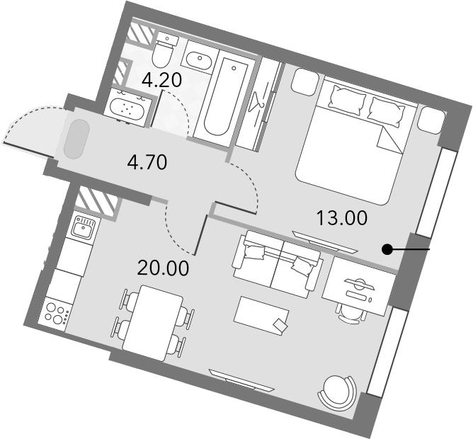 2Е-комнатная, 41.9 м²– 2