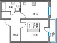 1-комнатная, 41.77 м²– 2