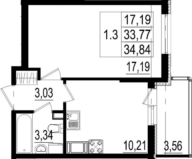 1-к.кв, 33.77 м²