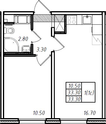 2Е-к.кв, 33.3 м², 9 этаж