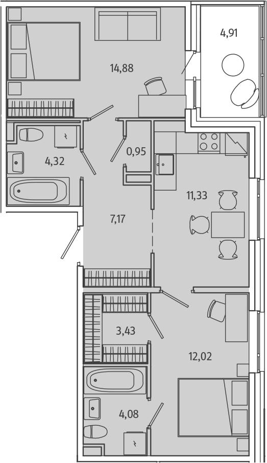 2-к.кв, 63.12 м²