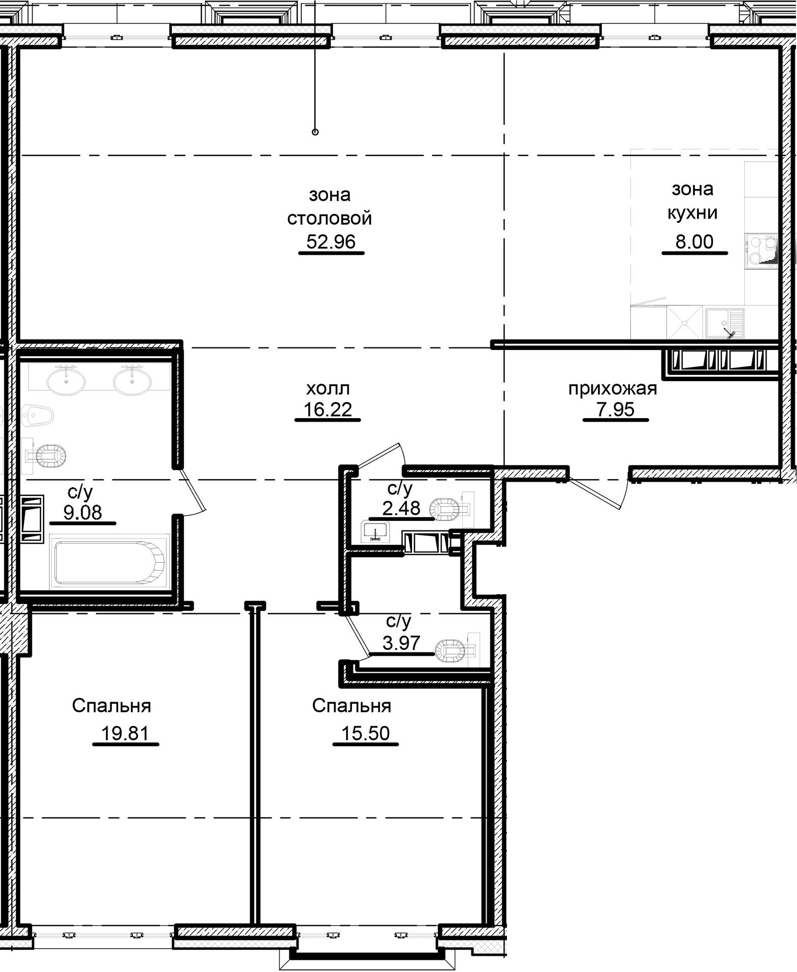 3Е-комнатная, 135.97 м²– 2