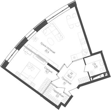 2Е-комнатная, 56.8 м²– 2
