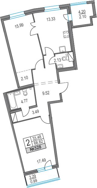 2-к.кв, 76.31 м²