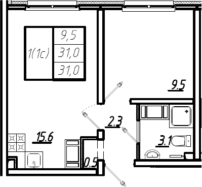 2Е-комнатная, 31 м²– 2