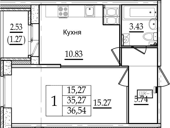 1-комнатная, 36.54 м²– 2