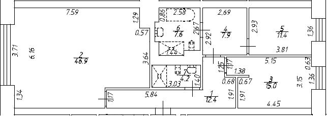 3Е-комнатная, 105.4 м²– 2