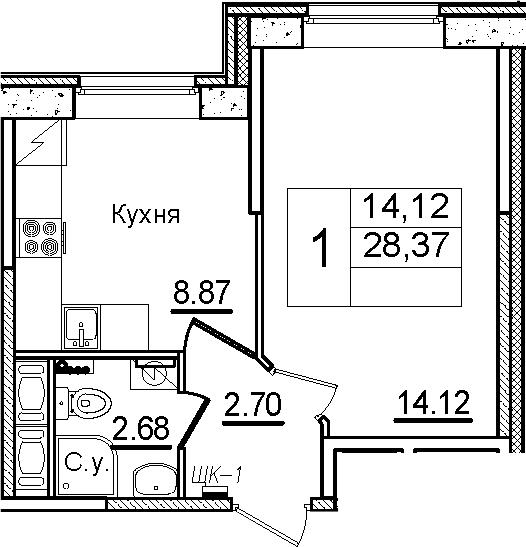 1-к.кв, 28.37 м²