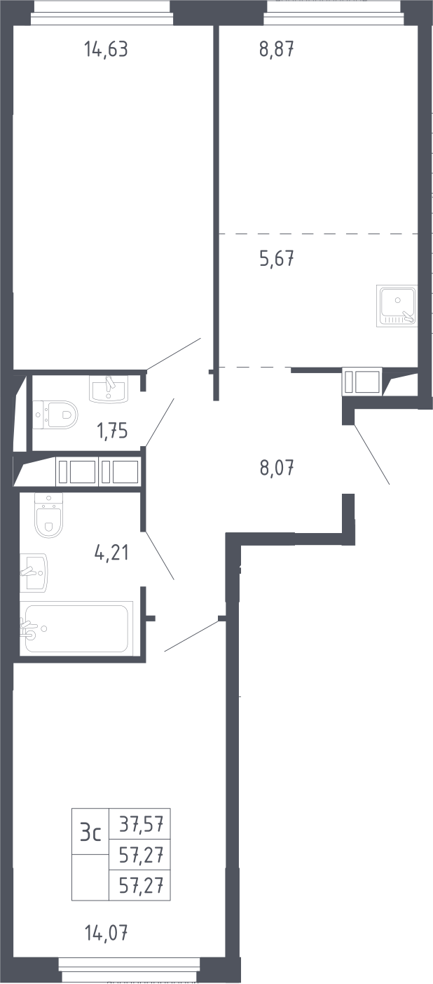 3Е-к.кв, 57.27 м², 2 этаж