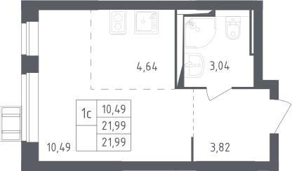 Студия, 21.99 м²– 2