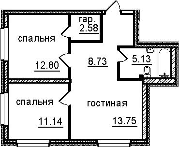 2-к.кв, 54.13 м²