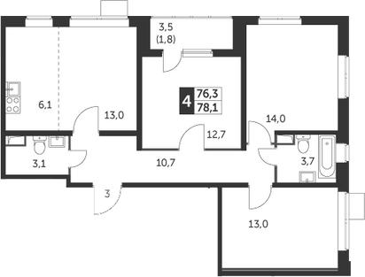 4-к.кв (евро), 79.9 м²