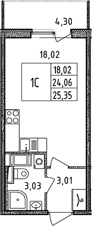 Студия, 24.06 м², 11 этаж
