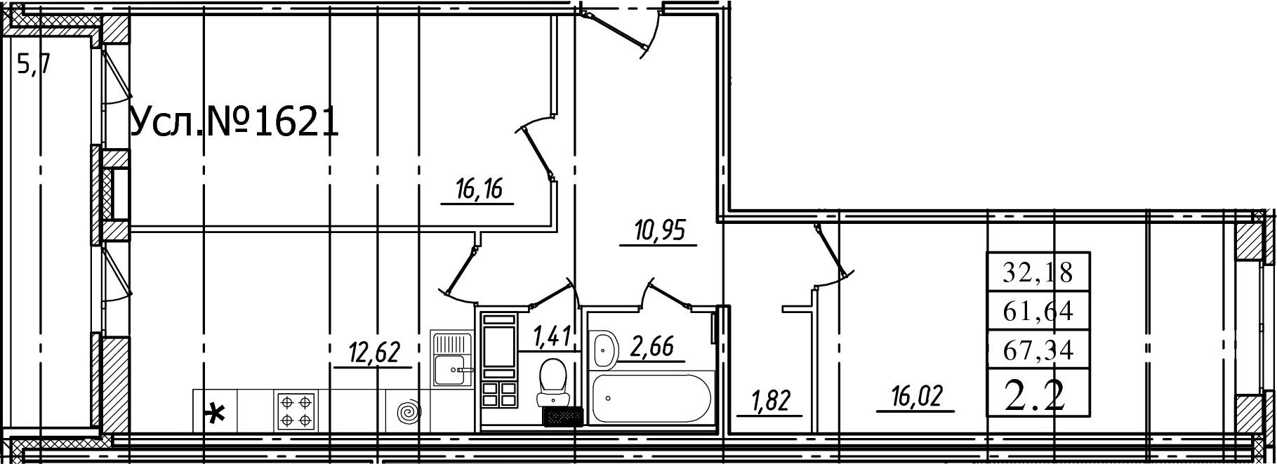 2-комнатная, 61.64 м²– 2