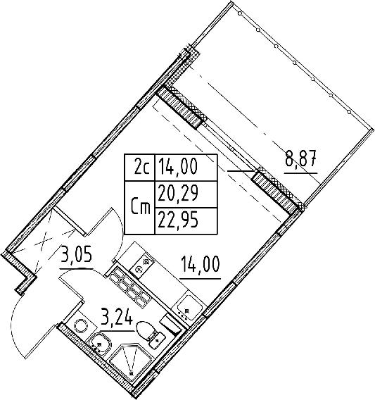 Студия, 20.29 м²