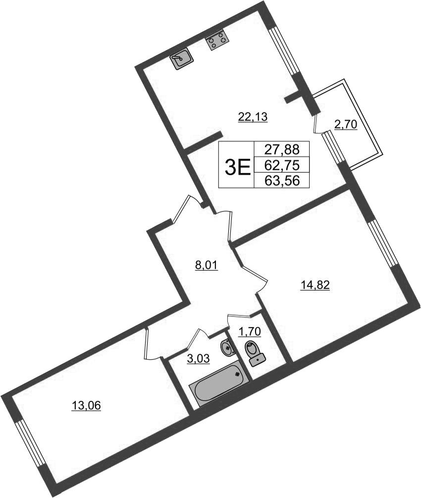 3-к.кв (евро), 65.45 м²