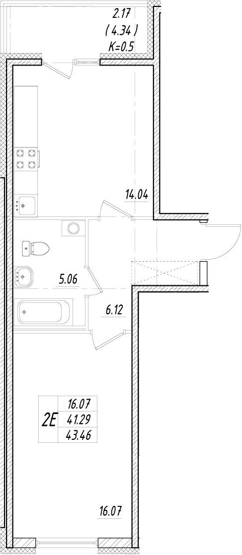 2Е-к.кв, 41.29 м²